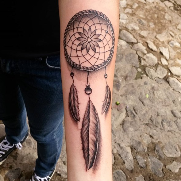 small dreamcatcher forearm tattoo ideas