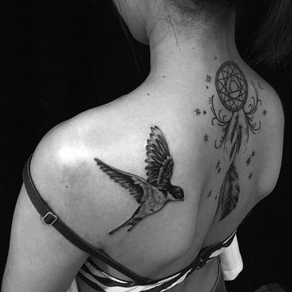small dreamcatcher tattoo design for women on back
