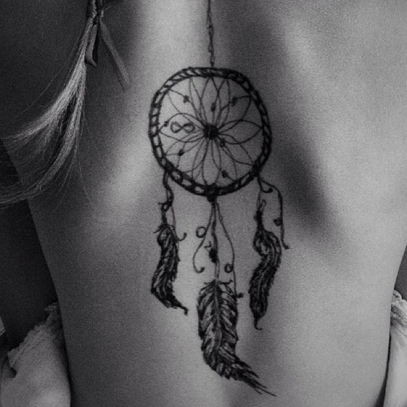 small dreamcatcher tattoo design on back