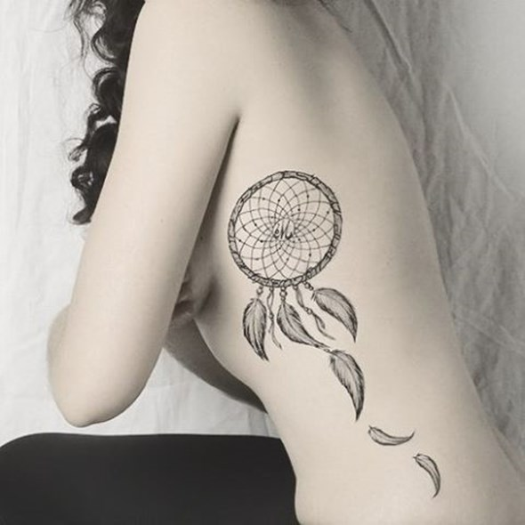 small dreamcatcher tattoo designs on ribs