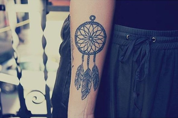 small dreamcatcher tattoo ideas on forearm