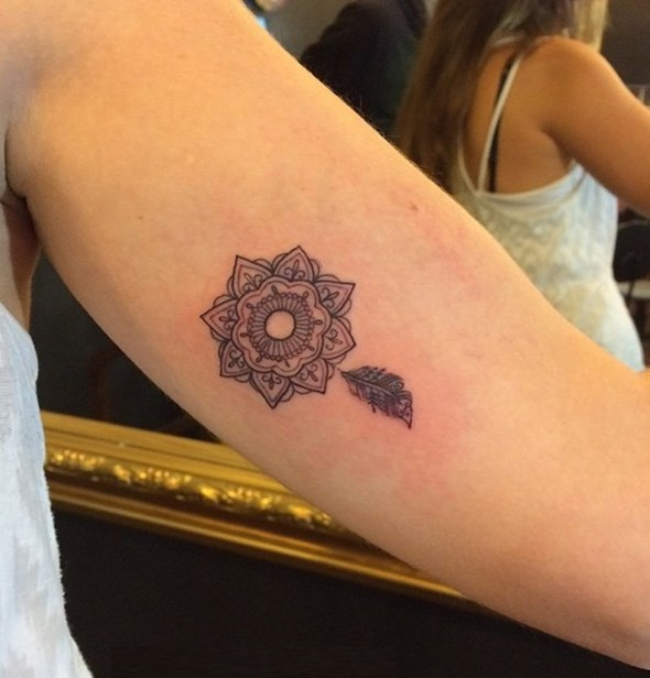 small mandala feather tattoo for women