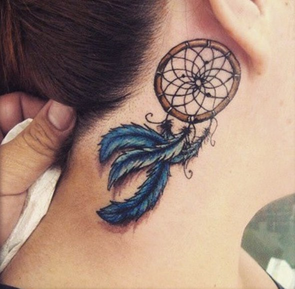 small tattoo behind ear dreamcatcher
