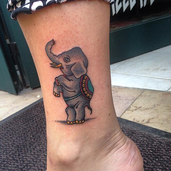 traditonal small elephant tattoo foot
