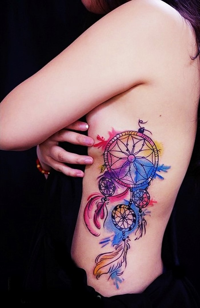 colorful dream catcher tattoo-10