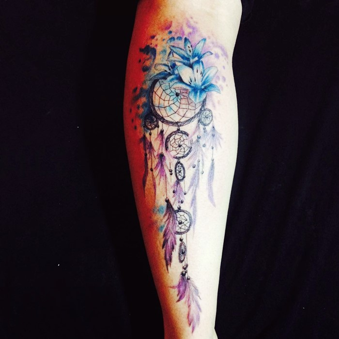 colorful dream catcher tattoo-12