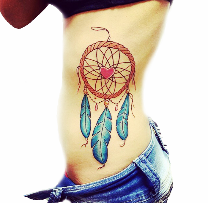 colorful dream catcher tattoo-24