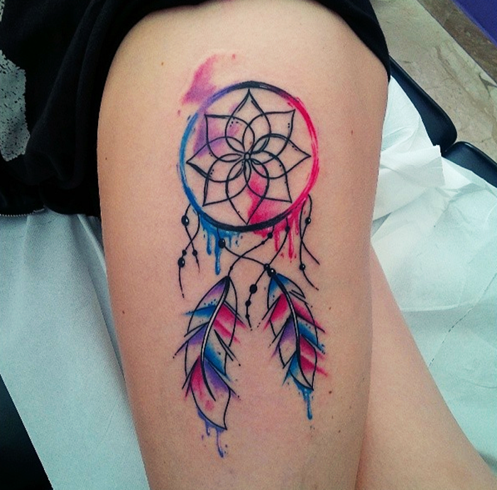 colorful dream catcher tattoo-25
