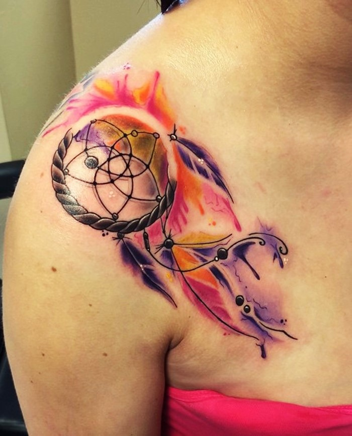 colorful dream catcher tattoo-26