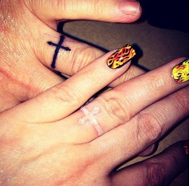 cross wedding ring tattoos