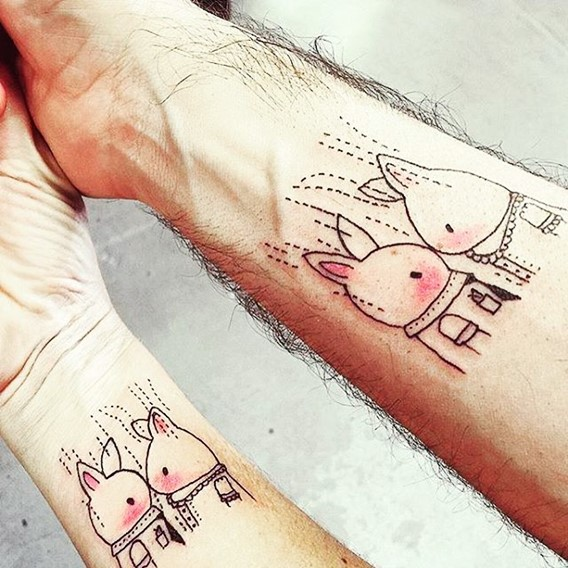 cute matching his and hers tattoos
