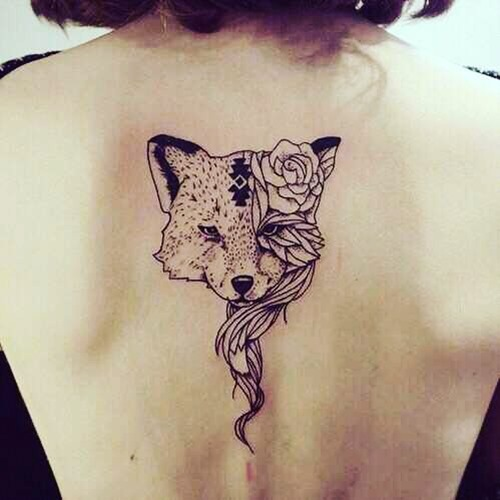 fox-tattoos-for-women-with-rose-flowers