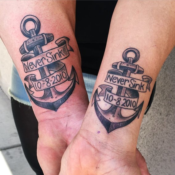 his and hers matching anchor tattoos