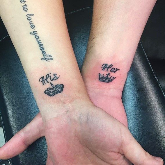 his and hers matching crown tattoos