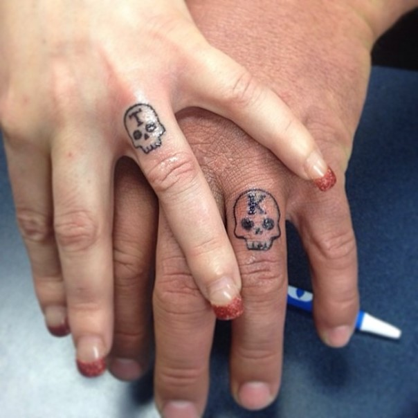 his and hers skulls wedding band tattoo initials