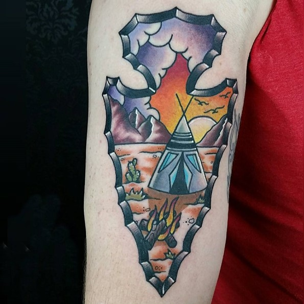 indian tattoo arrowhead native american neo traditional color