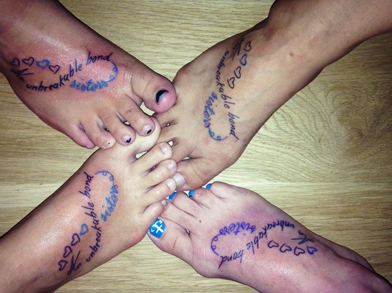 infinity tattoo ideas for 4 sisters
