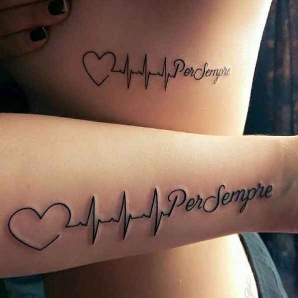 lifeline tattoos with words and love symbol