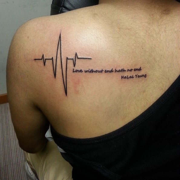 lifeline tattoos with words on shoulders