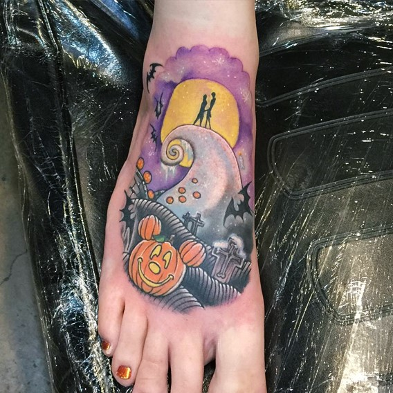 nightmare before christmas foot tattoos