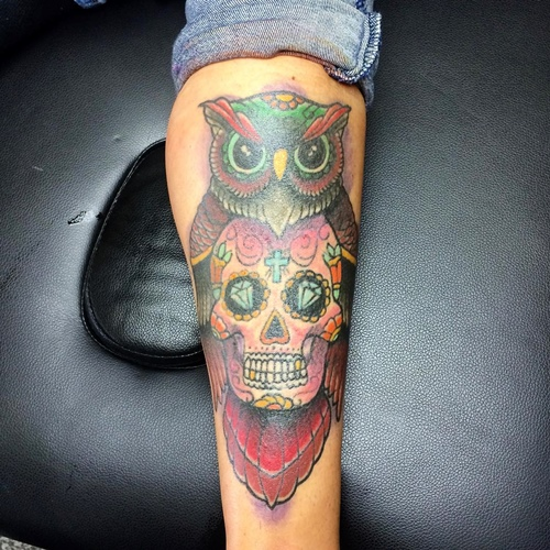 owl and skull tattoo traditional