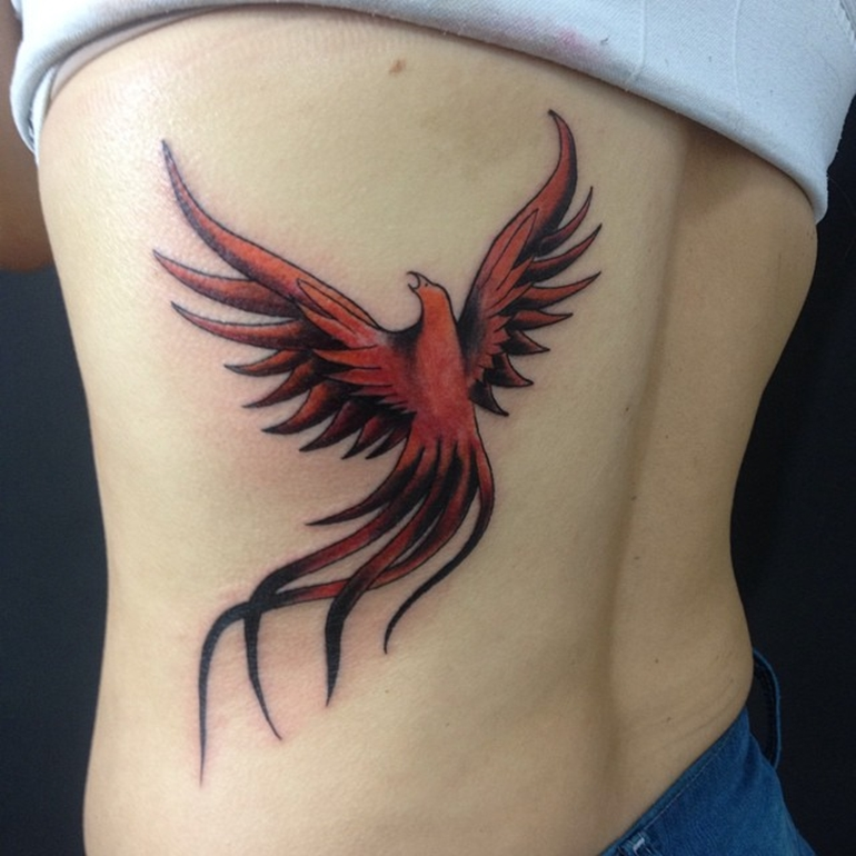 phoenix-tattoos-for-women-with-flames