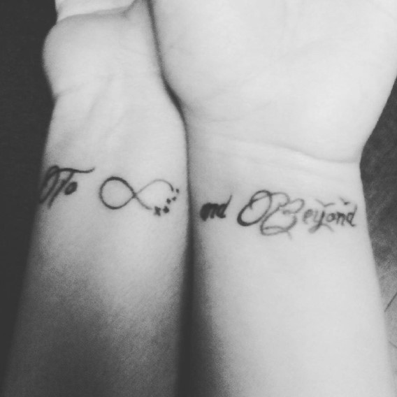 sister tattoos to infinity and beyond on wrist