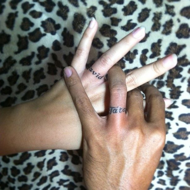 wedding ring name tattoos